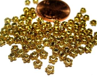 100pcs Antique Gold Metal Spacer Beads 4mm