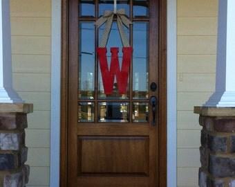 Fall initial door hanger, fall door hanger, monogram wreath, personalized wreath, door hanger