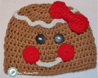 Crochet Gingerbread Man Baby Hat