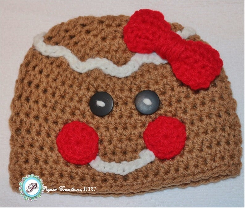 Free Crochet Pattern For Gingerbread Man Hat : Crochet Gingerbread Man Baby Hat