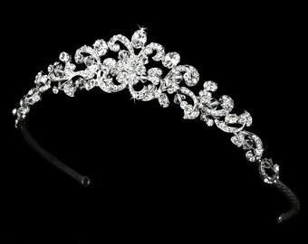 Traditional Wedding Tiara, Bridal tiara, Bridal headpiece, Wedding headbnad, Crystal tiara, Rhinestone tiara