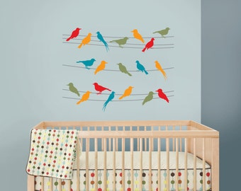 Birds on a Wire Decal, Bird decal, Nursery Birds, Rainbow birds, Nursery decal