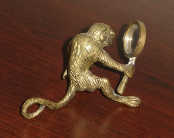 Vintage Solid Brass Monkey with Mirror