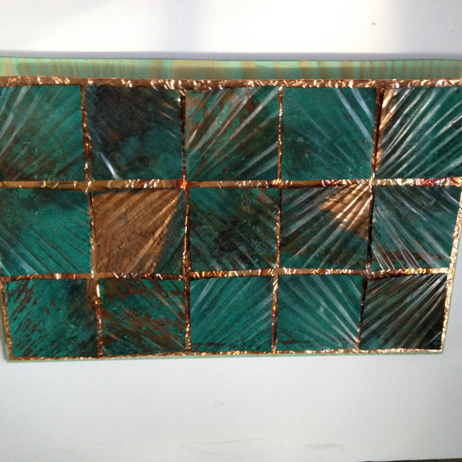 Copper wall art 15 green patina starburst squares burnt for Copper wall art