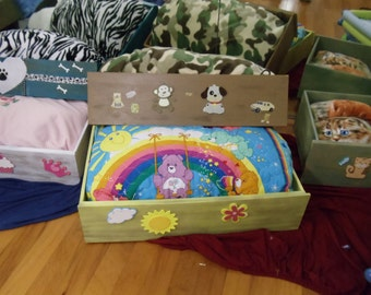 Pet Beds made with upcycled drawers and handmade bedding for comfort.  Ready to ship in many styles and colors.