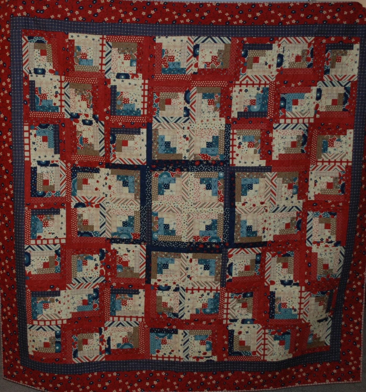 Log Cabin Quilts ~ Star light americana log cabin quilt