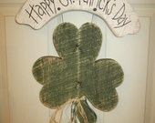 Country Primitive Wood Hanging St. Patrick's Day Decor