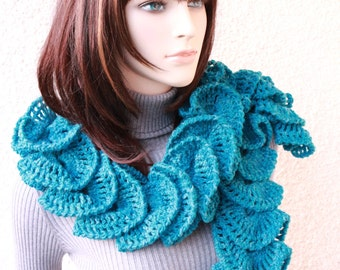 Crochet Ruffle Scarf, Turquoise Scarf, Unique Crochet Design Scarf, Fashion Scarf, Crochet Gift For Her, Hand Crocheted Scarf, Ready to Ship
