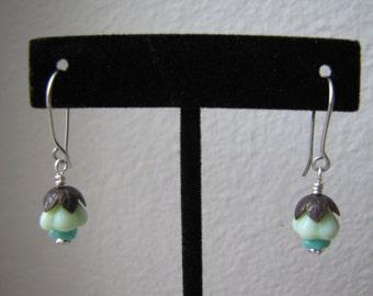 Czech Glass and Swarovski Crystal Flower Drop Earrings