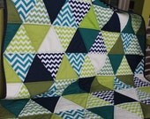 Modern Triangle Quilt - Aqua, Citron, Cactus, Navy ,with Navy Minky Backing