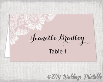 Wedding Place Card Template Blush Pink DIY Name Cards Antique Lace