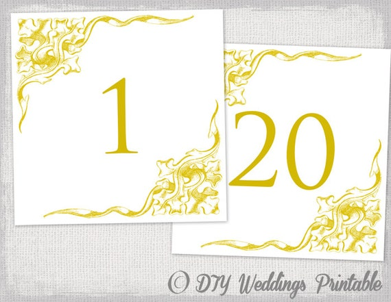Table number template DIY Gold Corner Scroll – Number Template