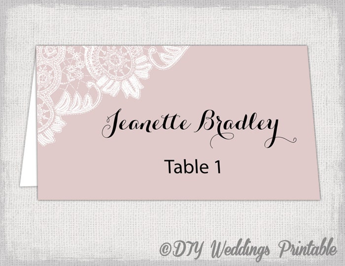 Wedding place card template blush pink diy wedding name cards for Templates for place cards for weddings