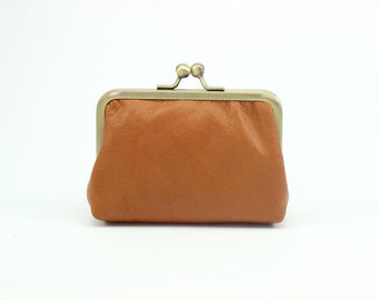 Leather Coin Purse / Mini Leather wallet / Leather Change Purse {Eaton Leather Wallet : Tan}