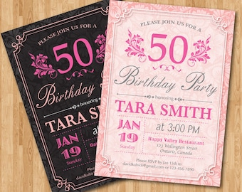 50th Birthday Invitation for women Floral Birthday