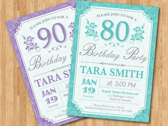 80th Birthday Invitation for women. Purple Blue any color.