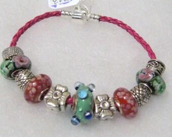 233 - Black Pink Green Floral Beaded Bracelet