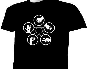 Big Bang Theory T-Shirt Sheldon Cooper Rock Paper Scissors Lizard Spock TBBT V2
