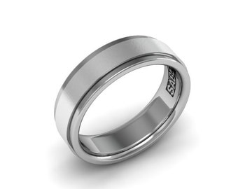 Mens Wedding Band 14kt White Gold  7mm Brushed Center Smooth Edges Wedding Ring Mens Ring PDC113