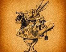 Antique Print Herald White Rabbit Art Alice in Wonderland Vintage Print with Vintage Paper Vignette Background No.1324 B3 8x8 8x10 11x14