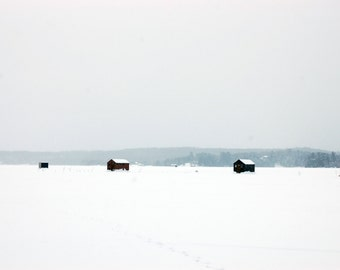 Ice Fishing Shacks on Frozen Lake - Canadian landscape photo