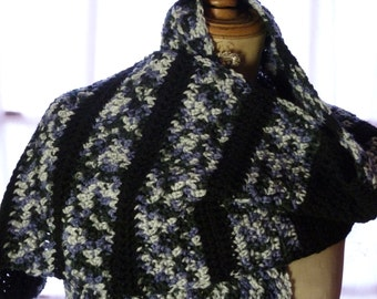 Black and grey scarf crochet