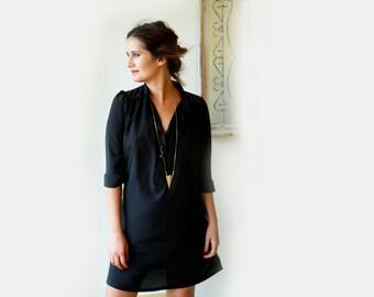 Black  Knee Length Dress / Midi Dress / Over Size Dress / Tie Belt Dress / Casual Dress / Women Clothing / Party Dress / Cotton Dress