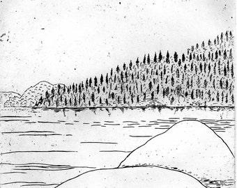 Rocks and Lake - Etching & Engraving, Hand-printed original print,