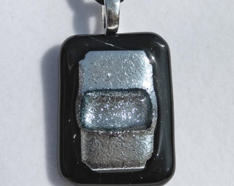 Silver Dichroic Glass Pendant.  Item: W4