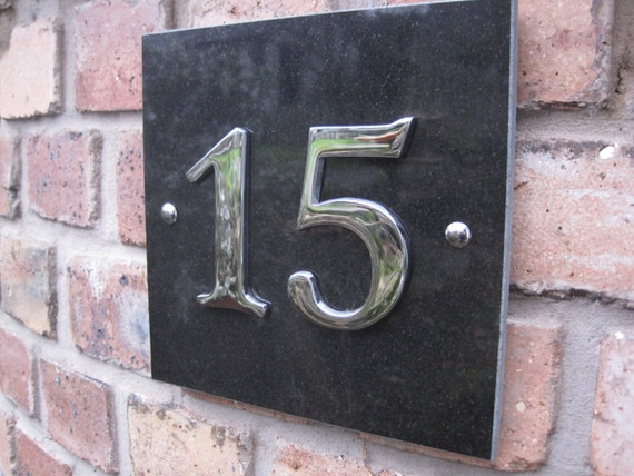 Modern large granite and chrome house number for Big modern house numbers
