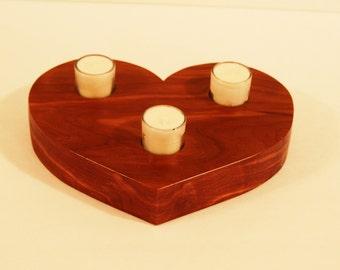 Large  Cedar wood Heart shaped candleholder