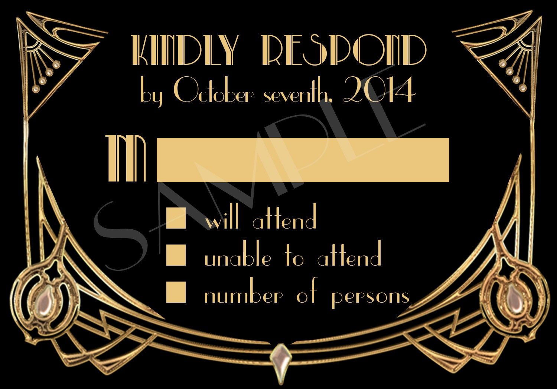 Great Gatsby Wedding Invitation: Great Gatsby Style Art Deco Wedding Invitation Suite By
