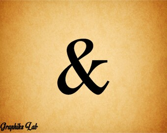 Ampersand Vinyl Decal 12 Inch Wall Decal Logogram Typography