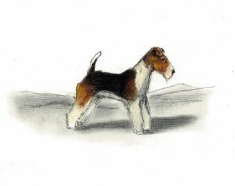 Wire Fox Terrier Dog Art Vintage Style Print