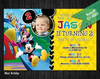 Mickey Mouse Invitations - Mickey Birthday invitation for Mickey Birthday, Personalized Digital file - Mickey Mouse Clubhouse Party