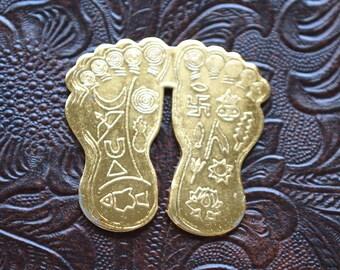 Sri Lakshmi Laxmi Charan Paduka (Lakshmi Feet)-Energized Beautifully Handcrafted Yantra Hindu Amulet-For Financial Prosperity