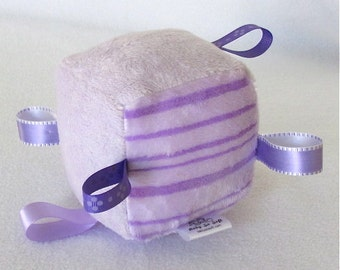 Soft Toy Block - Sensory Toy - Nursery Toy - Soft Toy With Rattle - Purple and Lavender Toy Block