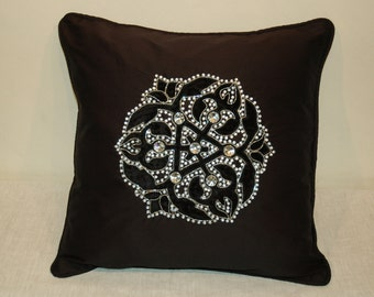 Velvet Appliqued Cushion with Stones