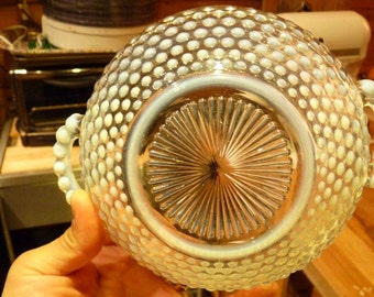 One (1) Fenton Moonstone Candy Dish Opalescent Edge Glass