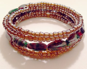 Handmade  Seed Bead Bangle Bracelet