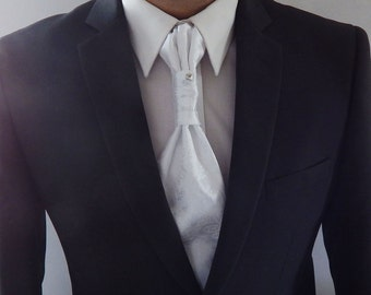 Mens Ascot Tie White Satin Paisley Adjustable Neck  Mens Formal Ascot