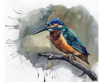 Kingfisher Print Home Decor Print Nursery Wall Decor Watercolor Drawing Birds