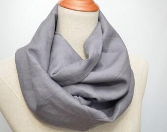 Linen Infinity Scarf. Chunky Scarf. Natural Linen. Dark Gray.