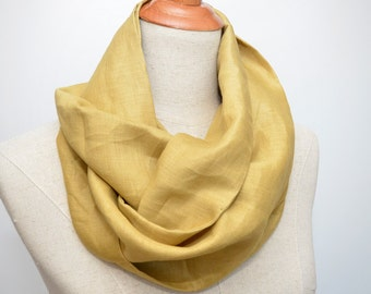 Linen Infinity Scarf. Chunky Scarf. Natural Linen. Mustard.