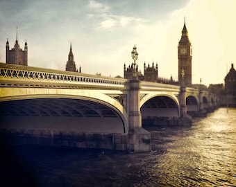 Westminster Bridge Elizabeth Tower Big Ben in London Photography, England, Beige, Blue, Thames River, Home Decor, Wall Art- Over the Thames