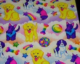 LISA FRANK vintage stickers  S243  Puppy Dog stickers