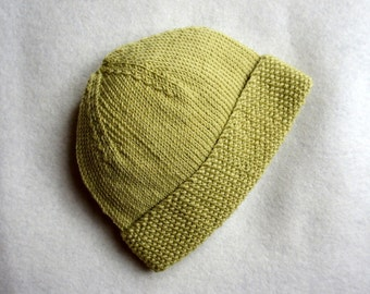 NEWBIE hand knitted merino wool baby hat beanie with fold up moss stitch band