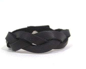 Leather black bracelet Mind breaker,mens leather bracelet, leather bracelet for women, braided leather bracelet
