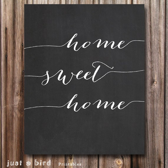 home sweet home chalkboard art printable home decor. Black Bedroom Furniture Sets. Home Design Ideas