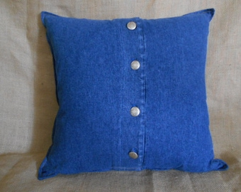 Denim Pillow With Hopi Buttons